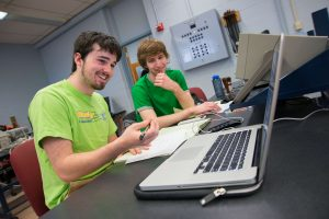 ECE undergraduates working in lab