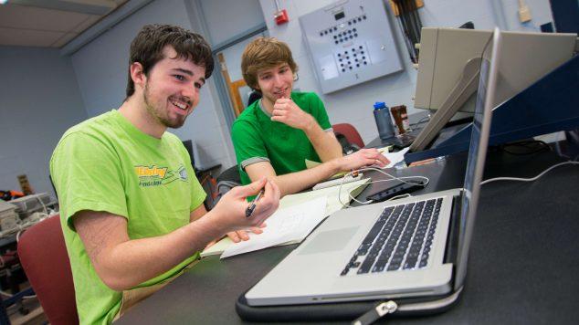 ECE undergraduates working in lab